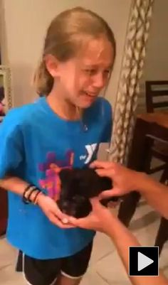 Young girl's reaction to getting a dog is priceless... #cute #puppy