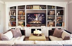 Lovely family room/tv room - Jeff Andrews Design love the large sectional and ottoman, and the accent paint in the bookshelf Jeff Andrews Design, Home And Living, Home And Family, Young Family, Small Living, Living Area, Home Interior, Interior Design, Interior Ideas