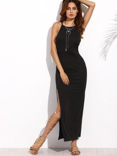9786987507e08 black maxi dress, sleeveless maxi dress with split leg, black dresses,  sleeveless summer
