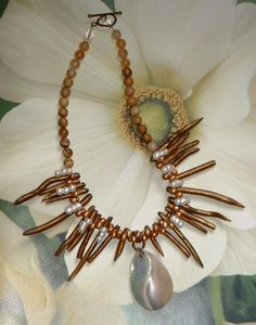 Ethnic Copper Coral Stick Bead Necklace | GracefulDesigns - Jewelry on ArtFire