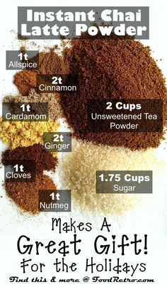 How to Make Homemade Instant Chai Tea Latte Powder- make sure to use organic sugar or if on a healing diet add the wet sweetener each time you make it~ local raw honey, pure maple syrup, stevia to taste, or hardwood-sourced xylitol can be added to the original powder mix, according to your health needs. :)