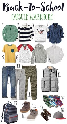 Take a look at 15 boys school outfits and capsule wardrobes in the photos below and get ideas for your kid's school outfits! Back-to-School Capsule Wardrobe- Boy 18 pieces 12 different out fits Image source Tween Boy Outfits, Outfits With Converse, Baby Outfits, Outfits For Teens, Capsule Outfits, Tween Boy Style, School Outfits For College, Summer School Outfits, Kids Fashion Boy