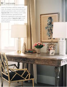 carved desk, gold chippendale chair, textured white lamps, vintage art | Lauren Gold & Sasha Adler...so many great details:)