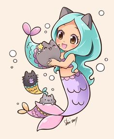 Mermaid Pusheen by nekoshiei. on - : Mermaid Pusheen by nekoshiei. Doodles Kawaii, Cute Kawaii Drawings, Cute Animal Drawings, Cute Doodles, Kawaii Art, Kawaii Nails, Cute Mermaid, Mermaid Art, Mermaid Cartoon