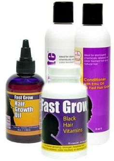 Grow Hair Longer with Fast Grow Black Hair Growth Vitamins, Emu Oil Shampoo, Conditioner and Fast Hair Growth Oil for Faster Growing Hair