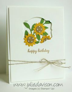 Clean and Simple Sunflower Window Card with Stampin' Up! Boho Blossom Punch and Deco Label Framelits by Julie Davison, http://juliedavison.blogspot.com/2013/09/clean-and-simple-sunflower-window-card.html