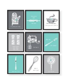 Set of 9 Teal White Gray Kitchen Funny Quotes art set Teal Kitchen Humor, Funny Kitchen, Kitchen Quotes, Living Room Decor, Dining Room Wall Art, Teal Living Rooms, Wall Art For Kitchen, Teal Kitchen Walls, Kitchen Prints