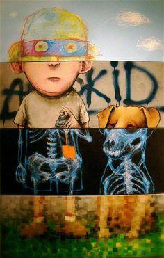 Exquisite Corpse - different media / different styles street art Murals Street Art, 3d Street Art, Amazing Street Art, Street Art Graffiti, Club D'art, Art Club, Tachisme, Banksy, Classe D'art