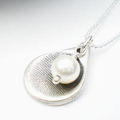 Silver Fingerprint Necklace, Silver Fingerprint Jewelry, Baby Fingerprint Necklace, Teardrop Necklace,Customized, Personalized. $95.00, via Etsy.