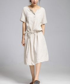 Loose line long dress flax Sexy Casual big Pleat by colorfulday01, $55.99