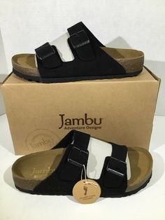 4dd2246d5695 JAMBU Womens Woodstock Size 7.5 Black Slides Casual Sandals Shoes ZS-1330   fashion