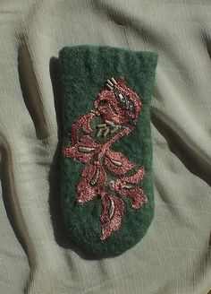 St. Patrick's Day present gift Eyeglass case phone case felted wool green apricot pink lace beads. $15.00, FeltSoapGood via Etsy.