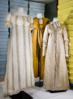 A trio of regency era dresses on exhibit at the Fashion Museum, Bath, UK. Great insight into regency fashion.
