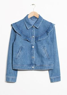 & Other Stories image 1 of Frilled Denim Jacket in Blue Denim Button Up, Button Up Shirts, Double Breasted Trench Coat, Blue Jean Jacket, Couture, Pretty Dresses, Blazer Jacket, Denim Jeans, Ready To Wear