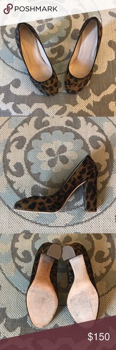 """J.Crew """"Etta"""" Pumps in Calf Hair Leopard Print Beautiful chunky heel with great cushion making it comfortable to wear all day. It runs a bit small so being that I am a true 7.5, I ordered a whole size up (this pair is 8.5). If you have narrow feet, you can get away with going up a 1/2 size only.  It's practically brand new as I've only used them once for about an hour.   I really love these heels but they've been sitting in my closet for awhile.  I've been using sneakers all day to keep up…"""