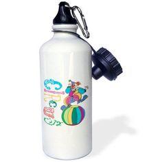 3dRose Circus Clown, Sports Water Bottle, 21oz, White