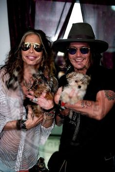Steven Tyler, Johnny Depp and Steven's puppies.---CAN'T GET ANY BETTER THAN THIS!