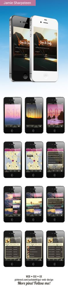 Sun & Only by Jamie Sharpsteen, via Behance *** Sun and only is an app that helps you see the perfect sunset or sunrise. Log in to view the time of the closest sunrise or sunset near you, and scroll to see future times. Scroll through a gallery of nearby spots to view your perfect sunrise or sunset...