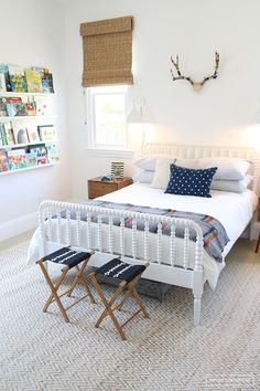 rustic boy bedroom design with jenny lind bed, rustic girl bedroom decor, kid room or guest room in cottage or lake house with book ledges and camping blanket Home Bedroom, Kids Bedroom, Bedroom Decor, Bedroom Ideas, Kids Rooms, Bedroom Inspiration, Lego Bedroom, Room Kids, Trendy Bedroom