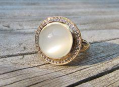 Round Moonstone Ring Rainbow Moonstone Ring Gold by Belesas, $219.00