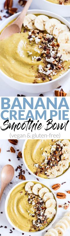 Dessert for breakfast! This creamy Banana Cream Pie Smoothie Bowl is a decadent & healthy way to start the day. Load on the toppings! (vegan & gluten-free) @alohamoment #sponsored