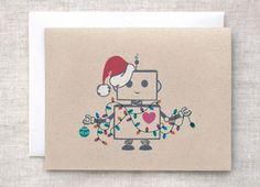 Cute Christmas Santa robot design for greetings card