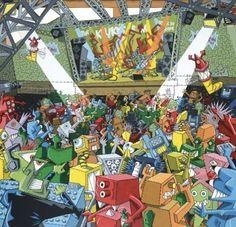 Kriki (Christian Vallee dit) (1965-) le concert 1989 Le Concert, Contemporary Artists, Times Square, Comic Books, Christian, Comics, Travel, Viajes, Destinations