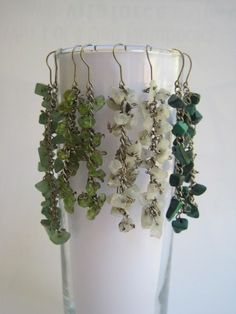 DIY stone earrings. Attach semi precious stone chips to a chain =  divine drop earrings. Go to Greenie Dresses for Less and find out how to make them.