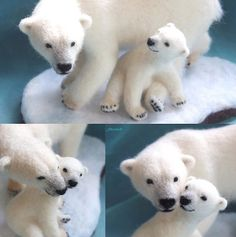 Cute Needle felting wool cute animals polar bears (Via @r2okuma)