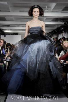 Ocar de la Renta - NY fashion week 2/2012 - purple, black, gray tulle-ish gown