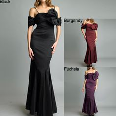 @Overstock - Turn heads when you wear this gorgeous off-the-shoulder gown with mermaid-style flared hem. In striking black taffeta with an oversize bow at the left shoulder and ruched sweetheart bodice, this dress is fully lined for sleek comfort.http://www.overstock.com/Clothing-Shoes/Issue-New-York-Black-Off-the-shoulder-Bow-Accent-Taffeta-Gown/6318641/product.html?CID=214117 $106.58