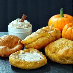 Fried Pumpkin Scones with Cinnamon Cream Cheese Butter
