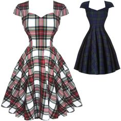 Hell Bunny Aberdeen Dublin Tartan 1950s Dress Dresses ($59) ❤ liked on Polyvore featuring dresses, goth prom dresses, gothic dresses, evening wear dresses, white plaid dress and hell bunny dress