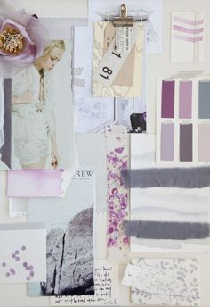 Fashion Moodboard - soft, feminine florals & pattern + muted berry colours