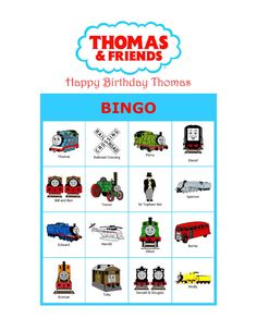 Thomas and Friends Thomas Train Personalized Birthday Party Game Activity Bingo Cards Delivered by Email