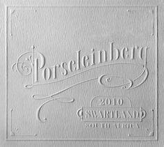 Letterpress wine label. Porseleinberg (translated as Porcelain Mountain)