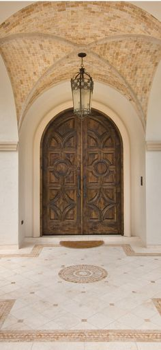 Cool ceiling for entryway & Spanish inspired dream home on Lake Conroe | Spanish Doors and Lakes