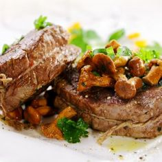 Roast Beef Tenderloin with Mushroom Ragout Recipe with shallots, thyme, and Madeira Lamb Recipes, Meat Recipes, Cooking Recipes, Dinner Recipes, Beef Dishes, Food Dishes, Mushroom Ragout Recipe, Raw Foodism, 185