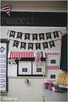 Create a classroom Message Center!  Get organized in your classroom! County Fair Classroom decorating theme  by Schoolgirl Style Americana, red, white, blue, chalkboard decor www.schoolgirlstyle.com