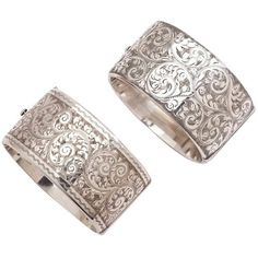 Pre-owned A Pair Of Victorian Floral Engraved Silver Cuffs ($2,300) ❤ liked on Polyvore featuring jewelry, bracelets, cuff bracelets, wide cuff bracelet, silver cuff bracelet, antique bracelet, victorian bracelet and antique jewelry