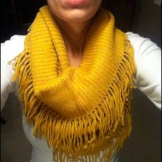 HP12/71 LEFT Double Wrap Double Fringe Scarf Comfy, cozy and a beautiful mustard color. NWT retail, tags are on bag they came in not item. Hand wash 100% acrylic Accessories Scarves & Wraps
