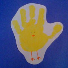 Handprint chick-I'm amazed at all the animals you can make with a kid's handprint.