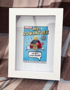 Box frame Super Teacher Lego figure, made for my sons teacher who loves comics! Lego Presents, Lego Gifts, Presents For Teachers, Male Teacher Gifts, Teacher Christmas Gifts, Teacher Appreciation Gifts, Box Frame Art, Box Frames, Diy Frame