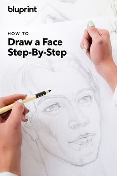 How to Draw a Face Step-By-Step: Drawing a realistic face may sound daunting, but we created a beginner tutorial that will show you step by step how to draw a female and male face. We'll show you how to sketch a face from the front and from the side! Realistic Face Drawing, Human Face Drawing, Drawing Heads, Nose Drawing, Drawing Tips, Drawing Faces, Drawing Lessons, Drawing Techniques, Drawing Practice