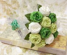 Origami Rose Bouquet - Bio Green Roses Style (1 Dozen Gift Wrapped) on Etsy, $20.00