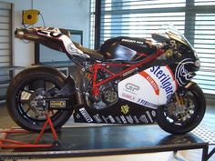Ducati 999 RS Team Sterilgarda Cafe Racer Motorcycle, Racing Motorcycles, Motorcycle Gear, Ducati 999s, Ducati Superbike, Ducati Monster, Hot Bikes, Street Bikes, Sport