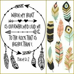 Psalm 61:2 When my heart is overwhelmed lead me to the Rock that is higher than I. Tribal feathers dream catcher collage by D.Welsh