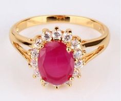 Women's 24k Gold Filled Oval Ruby Ring - Size 9 in Jewelry & Watches | eBay #ring #jewelry