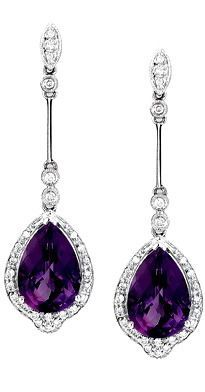 Pearshape dangling Amethyst earrings with Diamonds in 14kt White Gold.  Amethyst jewelry | Dangling Amethyst Earrings - Gemstone Jewelry Image