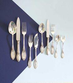 """Antique silver cutlery. Cubertería """"Boulanger"""" 18 personas - Rue Vintage 74"""